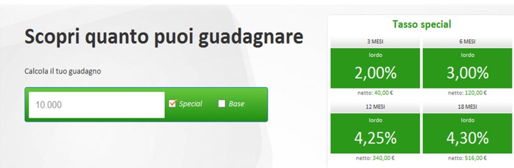 Tassi special conto deposito Fineco